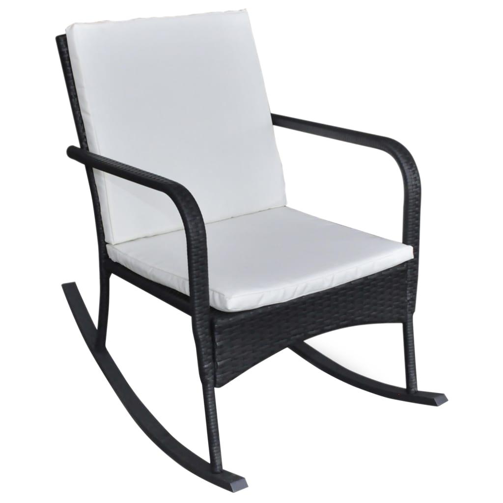 vidaXL Πολυθρόνα Κουνιστή Κήπου Μαύρη από Συνθετικό Ρατάν