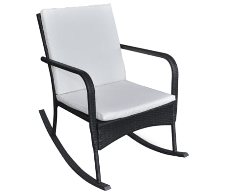 vidaXL Garden Rocking Chair Poly Rattan Black[2/4]