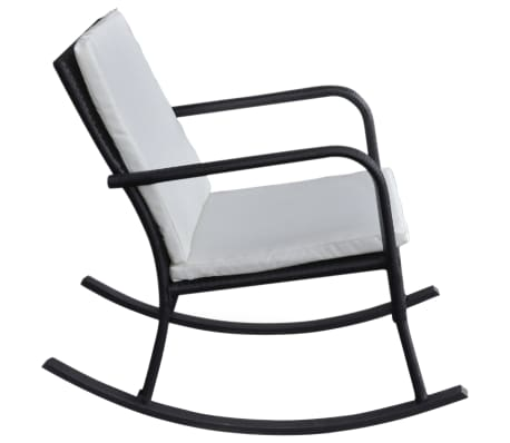 vidaXL Garden Rocking Chair Poly Rattan Black[3/4]