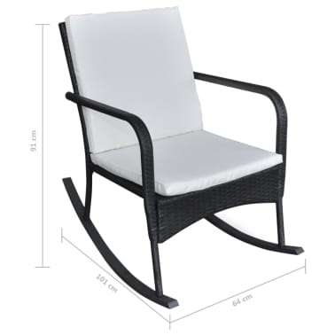 vidaXL Garden Rocking Chair Poly Rattan Black[4/4]