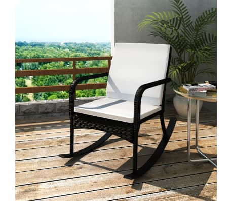 vidaXL Garden Rocking Chair Poly Rattan Black[1/4]