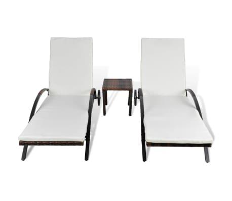 acheter vidaxl jeu de chaise longue 3 pcs avec table marron r sine tress e pas cher. Black Bedroom Furniture Sets. Home Design Ideas