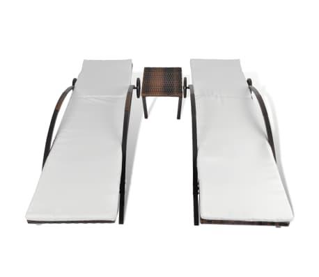 vidaXL Saulės gultas su stalu, poliratanas, rudas[4/8]
