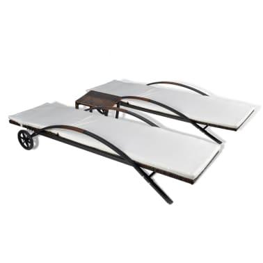 vidaXL Saulės gultas su stalu, poliratanas, rudas[5/8]