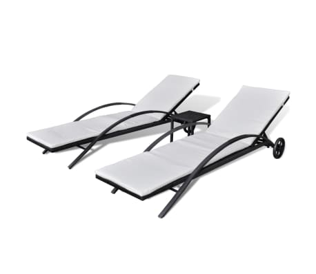 vidaXL Ligbedden met tafel poly rattan zwart
