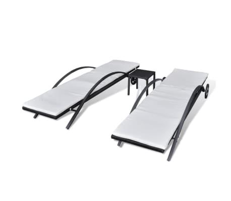 vidaXL Saulės gultas su stalu, poliratanas, juodas[4/7]