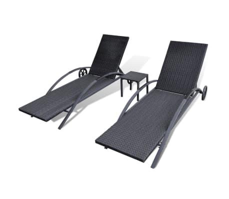 vidaXL Saulės gultas su stalu, poliratanas, juodas[5/7]