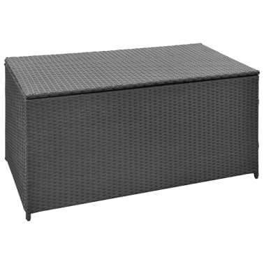 vidaXL Boîte de rangement de jardin Noir 120x50x60 cm Résine tressée[1/5]