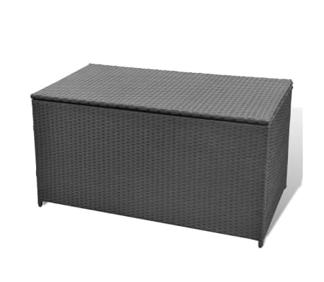 vidaxl poly rattan schwarz aufbewahrungstruhe auflagenbox gartentruhe kissenbox ebay. Black Bedroom Furniture Sets. Home Design Ideas