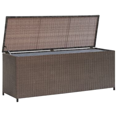 "vidaXL Garden Storage Box Brown 47.2""x19.7""x23.6"" Poly Rattan[1/5]"