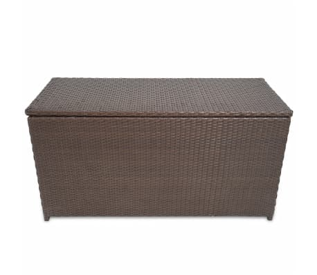"vidaXL Garden Storage Box Brown 47.2""x19.7""x23.6"" Poly Rattan[2/5]"