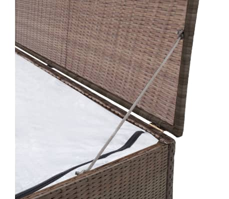 "vidaXL Garden Storage Box Brown 47.2""x19.7""x23.6"" Poly Rattan[3/5]"