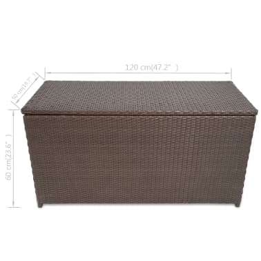 "vidaXL Garden Storage Box Brown 47.2""x19.7""x23.6"" Poly Rattan[5/5]"