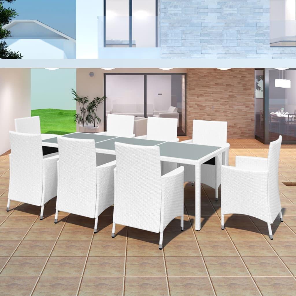 garten essgruppe sitzgruppe polyrattan gartengarnitur gartenm bel gartenset wei ebay. Black Bedroom Furniture Sets. Home Design Ideas