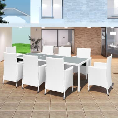acheter vidaxl jeu de mobilier de jardin 17 pcs blanc cr me r sine tress e pas cher. Black Bedroom Furniture Sets. Home Design Ideas
