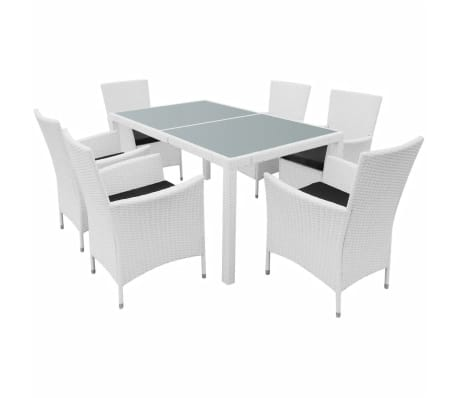 vidaXL 7 Piece Outdoor Dining Set Poly Rattan Cream White