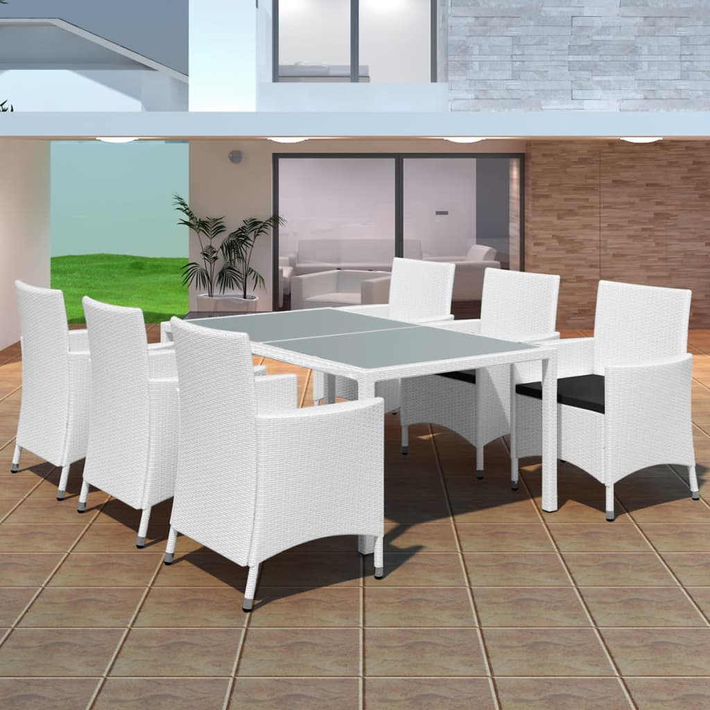 vidaXL 13 Piece Garden Dining Set Poly Rattan Cream White