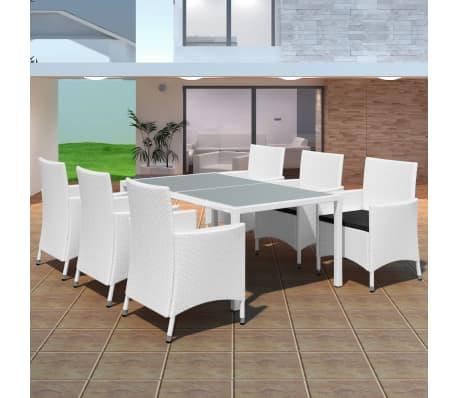 acheter vidaxl jeu de mobilier de jardin 13 pcs blanc cr me r sine tress e pas cher. Black Bedroom Furniture Sets. Home Design Ideas