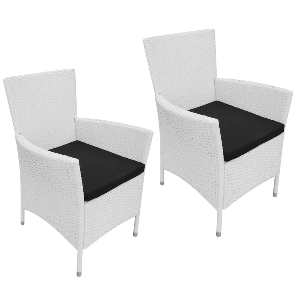 vidaXL Garden Dining Chairs 2 pcs Poly Rattan Cream White