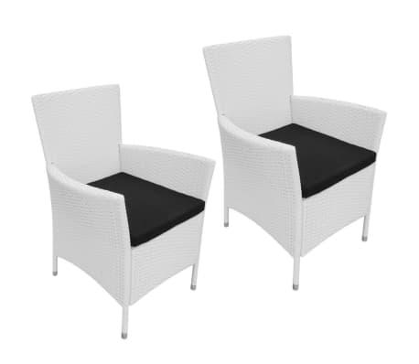 vidaXL Garten-Esszimmerstühle 2-teilig Poly Rattan Creme Weiß[1/6]