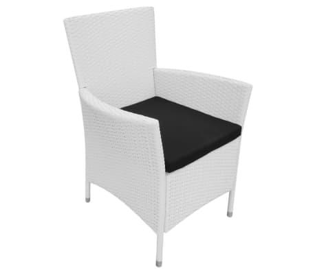 vidaXL Garten-Esszimmerstühle 2-teilig Poly Rattan Creme Weiß[2/6]