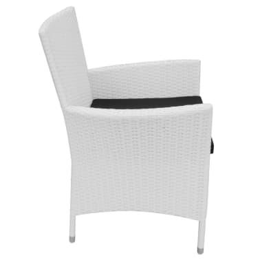 vidaXL Garten-Esszimmerstühle 2-teilig Poly Rattan Creme Weiß[4/6]
