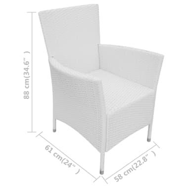 vidaXL Garten-Esszimmerstühle 2-teilig Poly Rattan Creme Weiß[6/6]