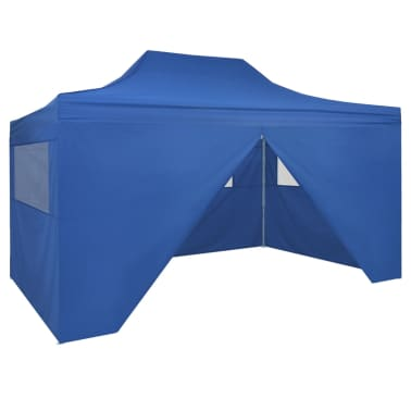 vidaXL Faltzelt Pop-Up mit 4 Seitenteilen 3 x 4,5 m Blau[1/11]