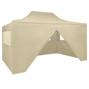 vidaXL Foldable Tent Pop-Up with 4 Side Walls 3x4.5 m Cream White[1/11]