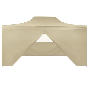 vidaXL Foldable Tent Pop-Up with 4 Side Walls 3x4.5 m Cream White[3/11]