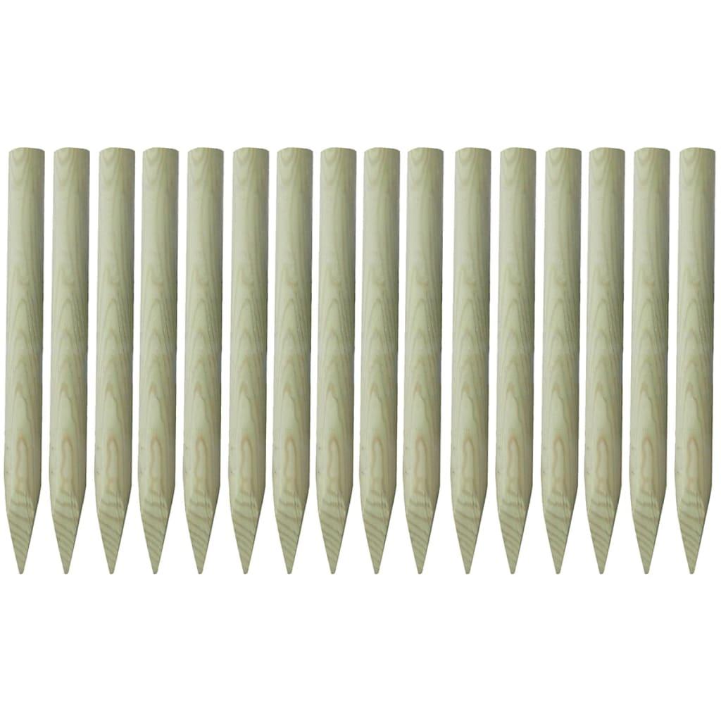 vidaXL Špičaté plotové sloupky 16 ks impregnované dřevo 5x100 cm