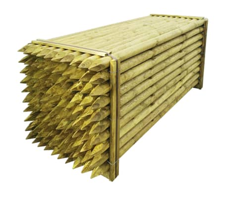 vidaXL Pointed Fence Posts 100 pcs Impregnated Wood 6x240 cm