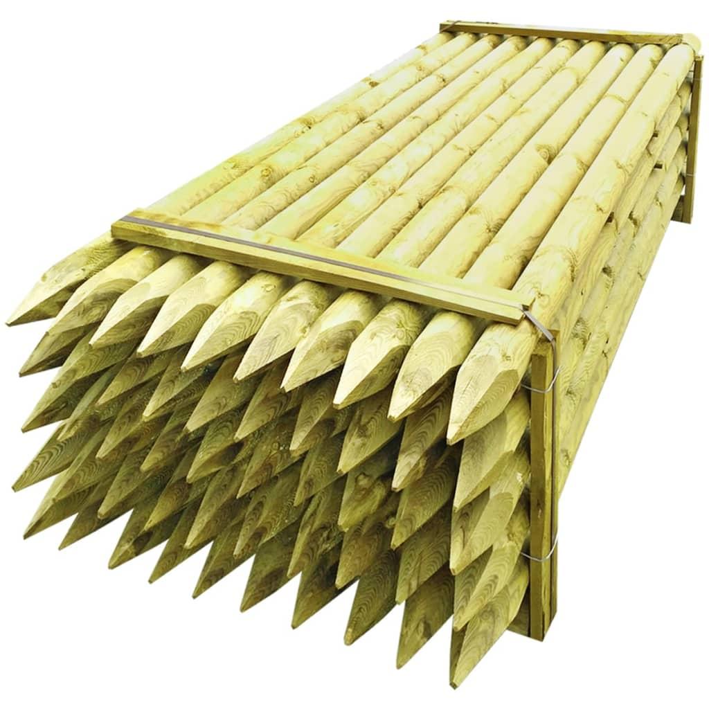 vidaXL Špičaté plotové sloupky 50 ks impregnované dřevo 10 x 240 cm