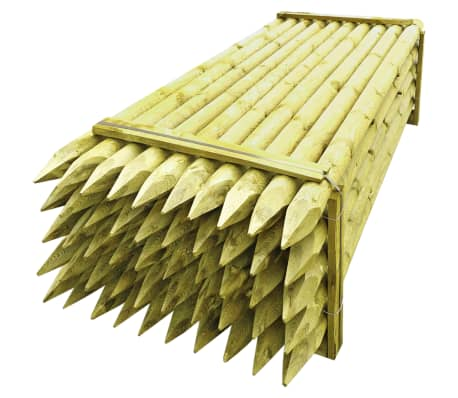 vidaXL Pointed Fence Posts 50 pcs Impregnated Wood 10x240 cm