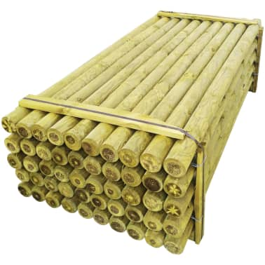 vidaXL Schuttingpalen met punt 50 st 10x240 cm FSC geïmpregneerd hout[2/2]