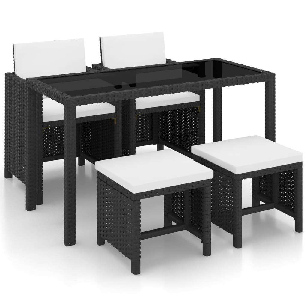 vidaXL Set mobilier de exterior cu perne, 5 piese, negru, poliratan imagine vidaxl.ro