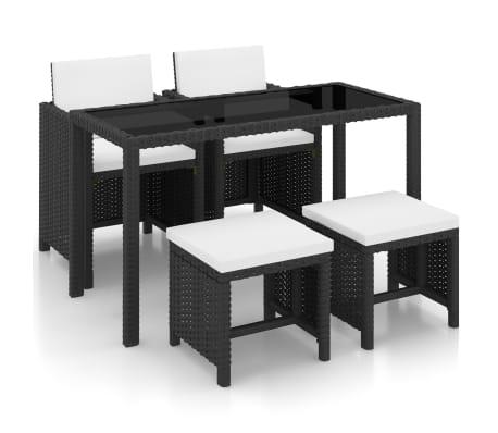 vidaXL Set mobilier de exterior cu perne, 5 piese, negru, poliratan