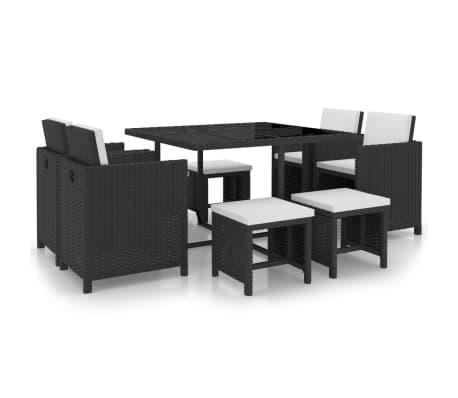 vidaXL 9 pcs conjunto jantar exterior com almofadões vime PE preto