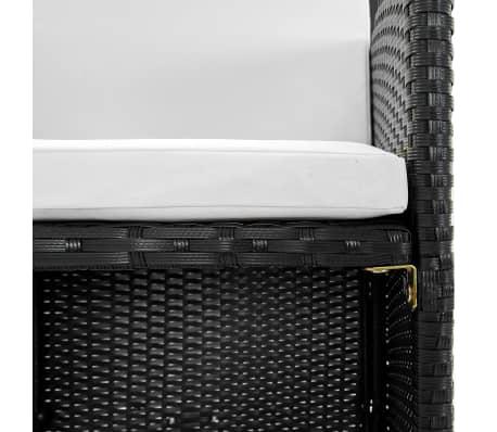 vidaXL Matgrupp för trädgården med dynor 9 delar konstrotting svart[5/12]