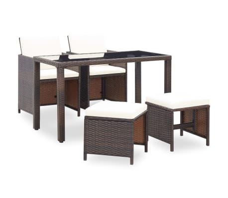 vidaXL udendørs spisebordssæt 5 dele med hynder polyrattan brun