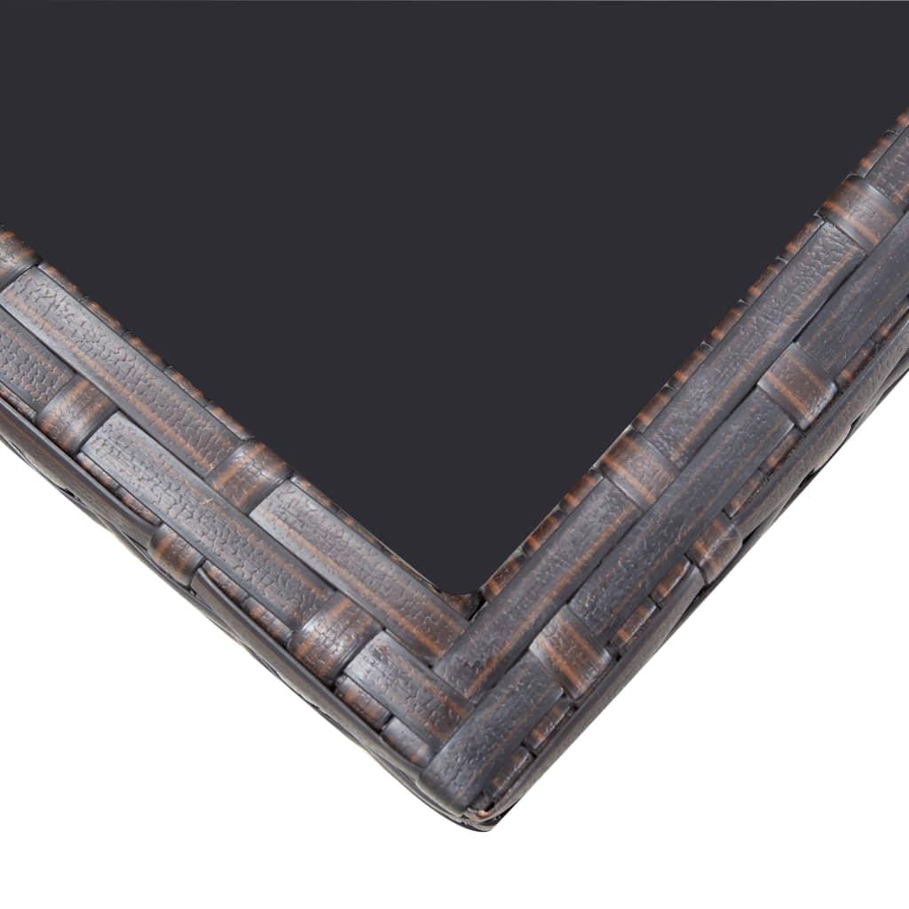 vidaXL 5-delige Tuinset met kussens poly rattan bruin