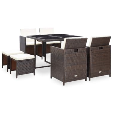 vidaXL 9 Piece Outdoor Dining Set with Cushions Poly Rattan Brown[2/12]