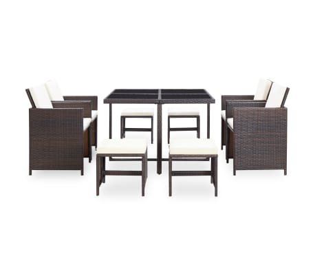 vidaXL 9 Piece Outdoor Dining Set with Cushions Poly Rattan Brown[3/12]