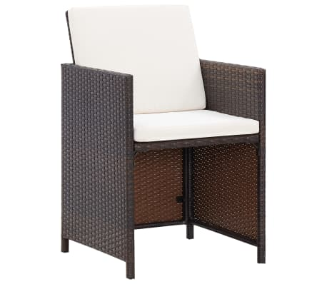 vidaXL 9 Piece Outdoor Dining Set with Cushions Poly Rattan Brown[9/12]