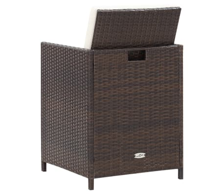 vidaXL 9 Piece Outdoor Dining Set with Cushions Poly Rattan Brown[11/12]