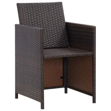 vidaXL 9 Piece Outdoor Dining Set with Cushions Poly Rattan Brown[12/12]