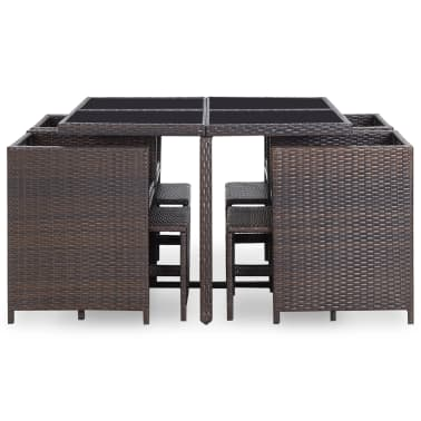 vidaXL 9 Piece Outdoor Dining Set with Cushions Poly Rattan Brown[5/12]