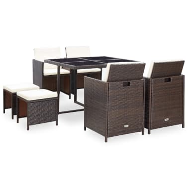 vidaXL 9 Piece Outdoor Dining Set with Cushions Poly Rattan Brown[1/12]
