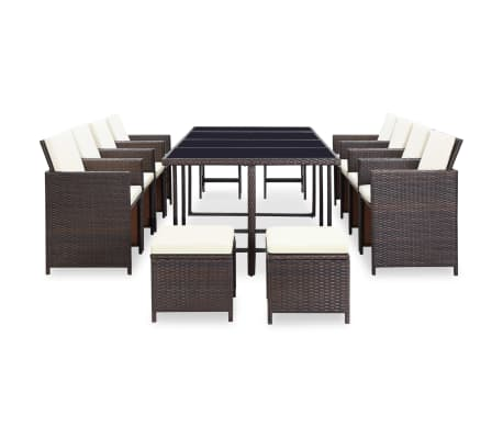 vidaxl garten essgruppe 33 tlg braun poly rattan zum schn ppchenpreis. Black Bedroom Furniture Sets. Home Design Ideas