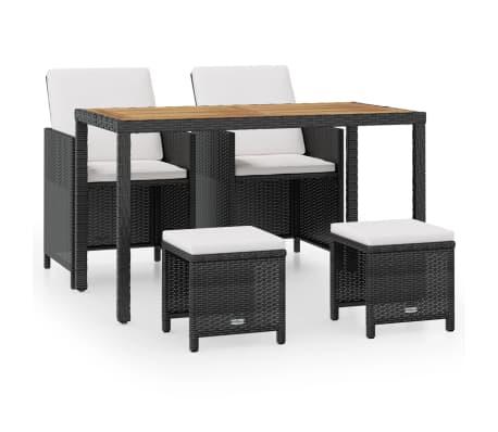 vidaXL Set mobilier de exterior, 5 piese negru, poliratan, lemn acacia